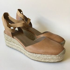 Bettye Muller Espadrille Tan Leather Wedge